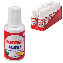 """Корректирующая жидкость KORES """"Fluid"""", 20 мл, с кисточкой, быстросохнущая основа, металлический шарик, картонный дисплей"""