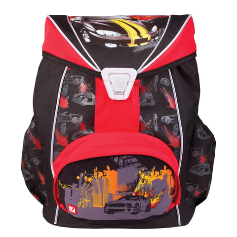 """Рюкзак BRAUBERG для учеников, ортопедический, евроформат, EasyLock, """"Спорткар"""", 20 литров, 37х29х19 см"""