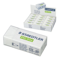 Резинка стирательная STAEDTLER (Германия), 43х19х13 мм, белая, картонный держатель, дисплей