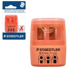 Точилка STAEDTLER (Германия), 2 отверстия, контейнер и крышечка, пластиковая, оранжевая