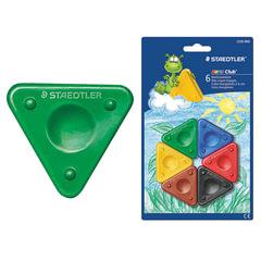 Восковые мелки STAEDTLER (Штедлер, Германия), 6 цветов, треугольные, с выемкой для пальцев, блистер