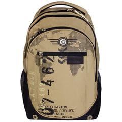 """Рюкзак GRIZZLY для старшеклассников/студентов/молодежи, песочный, """"Цифры"""", 25 литров, 28х44х21 см"""