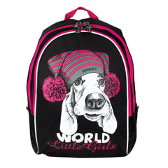 """Рюкзак GRIZZLY для учеников и учениц начальной школы, """"Щенок в шапке"""", 18 литров, 29х38х18 см"""