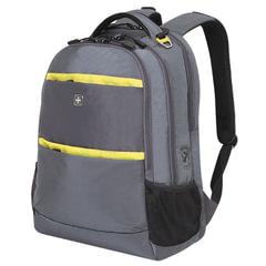 Рюкзак WENGER (Швейцария), универсальный, серый, желтые вставки, 28 литров, 46х33х19 см