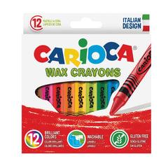Восковые мелки CARIOCA (Италия), 12 цветов, смываемые, картонная коробка с европодвесом