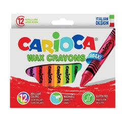 """Восковые мелки утолщенные CARIOCA (Италия) """"Maxi"""", 12 цветов, смываемые, картонная упаковка, подвес"""