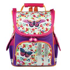 """Ранец жесткокаркасный BRAUBERG для учениц начальной школы, """"Бабочка в цветах"""", 34х26х16 см"""