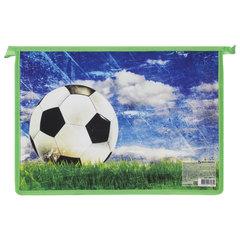"""Папка для тетрадей BRAUBERG, А4, пластик, цветная печать, молния сверху, для мальчиков, """"Футбольный мяч"""""""