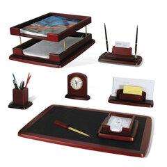 Набор GALANT настольный из дерева, 8 предметов, красное дерево, двойной лоток, часы