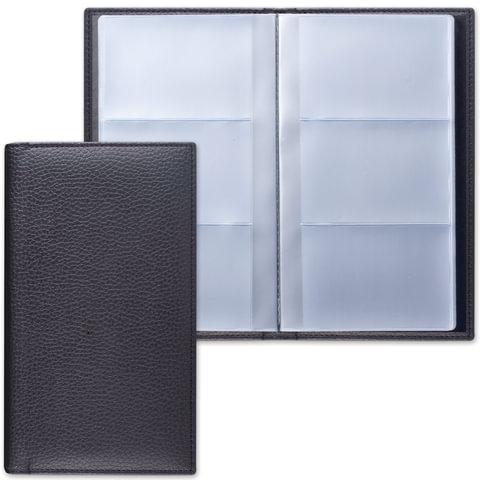 """Визитница трехрядная BRAUBERG """"Favorite"""" (БРАУБЕРГ """"Фаворит""""), под классическую кожу, на 144 визитки, черная"""