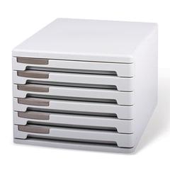 Блок из 6 закрытых лотков для бумаги, настольный, ERICH KRAUSE, 345х260х210 мм, серый