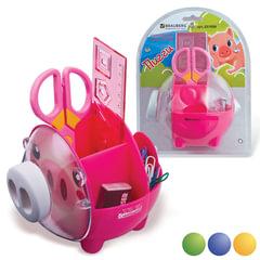"""Канцелярский детский набор BRAUBERG """"Пигги"""", в форме поросенка, 5 предметов, ассорти, блистер"""