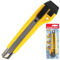 "Нож универсальный 18 мм ERICH KRAUSE ""Universal"", автофиксатор, желтый, + 2 лезвия, блистер"