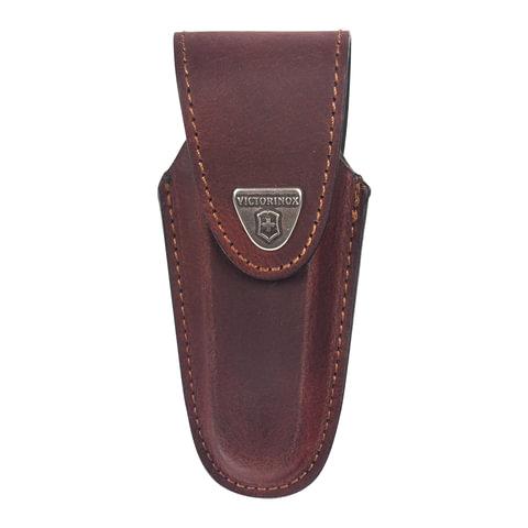 Подарочный чехол для ножей VICTORINOX, кожа, коричневый, на липучке, фиксирующееся лезвие, толщина 4-6 уровней