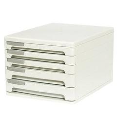Блок из 5 закрытых лотков для бумаги, настольный, ERICH KRAUSE, 345х260х210 мм, серый