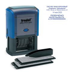 Датер самонаборный, 6 строк+дата, оттиск 60х40 мм, синий, TRODAT 4727, кассы в комплекте