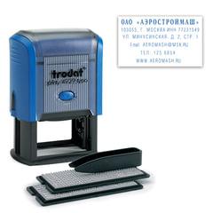 Штамп самонаборный 6-строчный, оттиск 50х30 мм, синий, без рамки, TRODAT 4929/DB (Австрия), кассы в комплекте