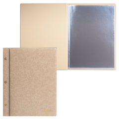 "Папка ""Меню"" на трех винтах, с 10 файлами, 220х320 мм, бежевая, ""ДПС"""