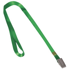 Лента для бейджей BRAUBERG, 45 см, металлический клип, зеленая