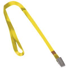 Лента для бейджей BRAUBERG, 45 см, металлический клип, желтая