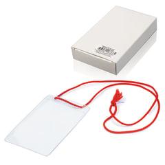 """Бейджи, комплект 10 шт., ПВХ, 123х79 мм, вертикальные, на красном шнурке 44 см, """"ДПС"""""""