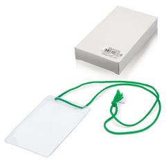 """Бейджи, комплект 10 шт., ПВХ, 123х79 мм, вертикальные, на зеленом шнурке 44 см, """"ДПС"""""""