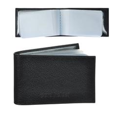 """Визитница карманная BEFLER """"Грейд"""" на 40 визитных карт, натуральная кожа, тиснение, черная"""