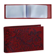 """Визитница карманная BEFLER """"Гипюр"""" на 40 визиток, натуральная кожа, тиснение, красная"""