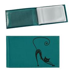 """Визитница карманная BEFLER """"Изящная кошка"""" на 40 визиток, натуральная кожа, тиснение, бирюзовая"""