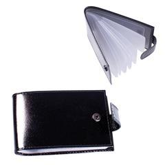 """Визитница карманная BEFLER """"Classic"""" на 40 визиток, натуральная кожа, кнопка, черная"""