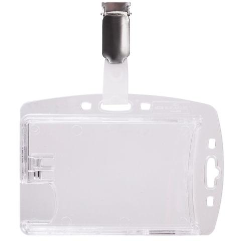 Держатель для пропусков DURABLE (Германия), комплект 25 шт., двойной, жесткий пластик, клип, прозрачный