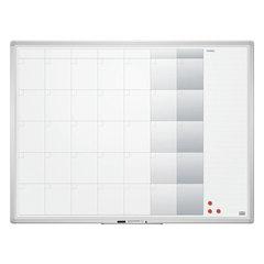 """Доска-планинг НА МЕСЯЦ, магнитно-маркерная, 90x120 см, алюминиевая рамка, OFFICE, """"2х3"""" (Польша)"""