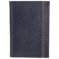 """Обложка для паспорта FABULA """"Brooklyn"""", натуральная кожа, контрастная отстрочка, синяя"""