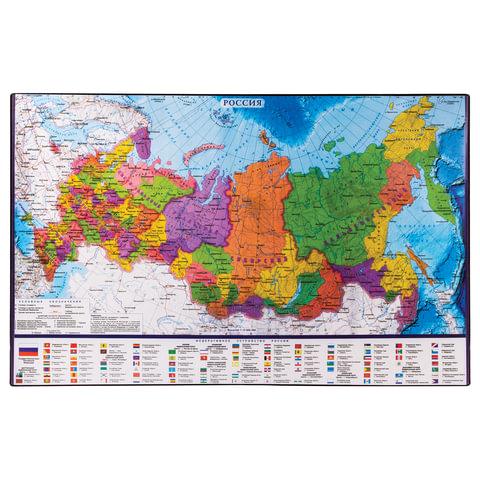Коврик-подкладка настольный для письма BRAUBERG, 380х590 мм, с картой России