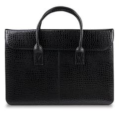 """Портфель-сумка женский из натуральной кожи, на молнии, 380х280х80 мм, тиснение """"крокодил"""", черный"""