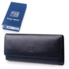 Футляр для ключей SERGIO BELOTTI, натуральная кожа, застежка - 2 магнитные кнопки, 57х130х20 мм, черный
