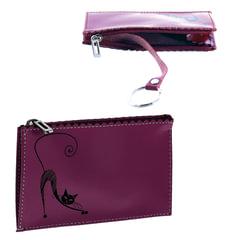 """Футляр для ключей BEFLER """"Изящная кошка"""", натуральная кожа, тиснение, молния, 130x85 мм, фиолетовый"""
