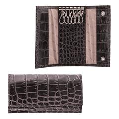 """Футляр для ключей FABULA """"Croco Nile"""", натуральная кожа, кнопки, крокодил, 110x60x15 мм, черный"""