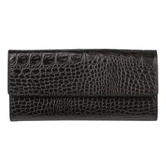 """Портмоне женское BEFLER """"Кайман"""", натуральная кожа, кнопка, крокодил, 185х92 мм, черное"""