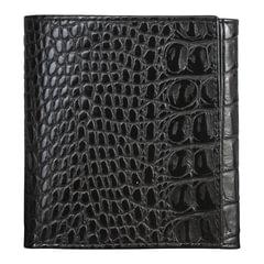 """Портмоне женское BEFLER """"Кайман"""", натуральная кожа, кнопка, крокодил, 105х110 мм, черное"""