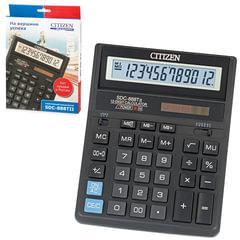 Калькулятор CITIZEN настольный SDC-888TII, 12 разрядов, двойное питание, 203х158 мм