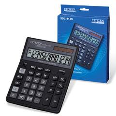 Калькулятор CITIZEN настольный SDC-414N, 14 разрядов, двойное питание, 204х158 мм