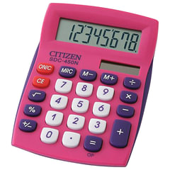 Калькулятор CITIZEN карманный SDC-450NPKCFS, 8 разрядов, двойное питание, 120х72 мм, розовый