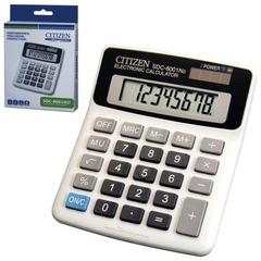 Калькулятор CITIZEN настольный SDC-8001NII, 8 разрядов, двойное питание, 127х107 мм