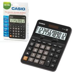 Калькулятор CASIO настольный DX-12B-W, 12 разрядов, двойное питание, 175х129 мм, европодвес, черный