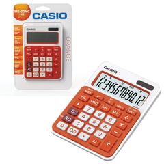 Калькулятор CASIO настольный MS-20NC-RG-S, 12 разрядов, двойное питание, 150х105 мм, блистер, белый/оранжевый