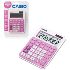 Калькулятор CASIO настольный MS-20NC-PK-S, 12 разрядов, двойное питание, 150х105 мм, блистер, белый/розовый