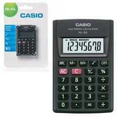 Калькулятор CASIO карманный HL-4A-S, 8 разрядов, питание от батарейки, 87х56х8,8 мм, блистер, черный