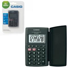 Калькулятор CASIO карманный HL-820LV-BK-S, 8 разрядов, питание от батарейки,104х63х7,4 мм, блистер, черный