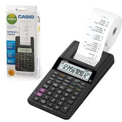 Калькулятор CASIO печатающий HR-8RCE-BK-W-EC, 12 разрядов, питание от батареек (4 х АА) или адаптера (250402)